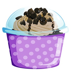 A lavender disposable cup with a cake inside vector