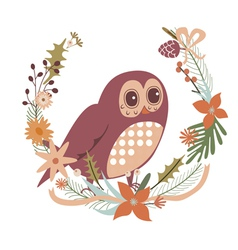 Floral design with cartoon owl character vector
