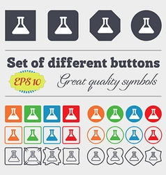 Conical flask icon sign big set of colorful vector