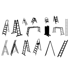 Set of ladder silhouette vector
