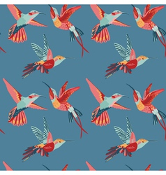 Hummingbird background - retro seamless pattern vector