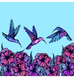 Flying tropical stylized hummingbirds with flowers vector