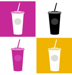 Plastic cup  glass icons vector
