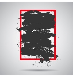 Black grunge splash in red frame modern vector