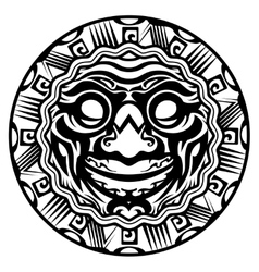 Round smiling face polynesian tattoo vector