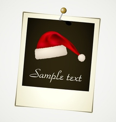 Instant photo with christmas hat vector