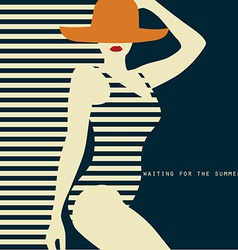 Stylized woman in swimsuit waiting for the summer vector