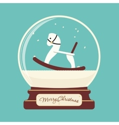 Merry christmas glass ball with toy horse vector
