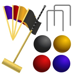 Set of objects for a game of croquet vector