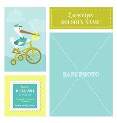 Baby arrival card - with stork and photo frame vector