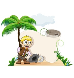 Pirate on a desert island vector