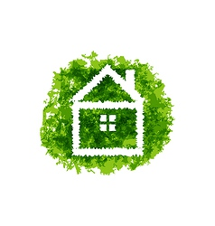Icon eco home on grunge background vector