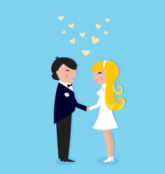 Wedding cute bride and groom vector