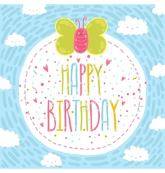 Happy birthday text label with butterfly vector