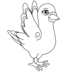 Unpainted funny cartoon pigeon positive vector