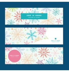Colorful doodle snowflakes horizontal banners set vector
