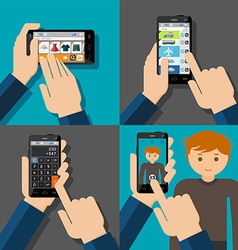 Hands holding touchscreen smartphones with vector