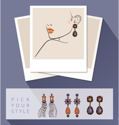 Beautiful woman wearing earrings mock up with vector
