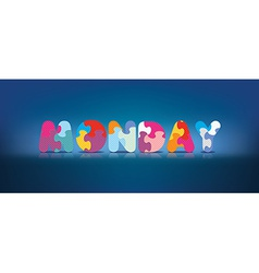 Monday written with alphabet puzzle vector