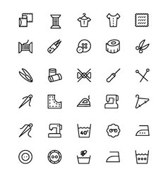 Sewing line icons 2 vector