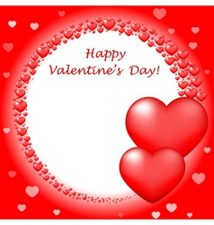 Happy valentins day card with red hearts vector