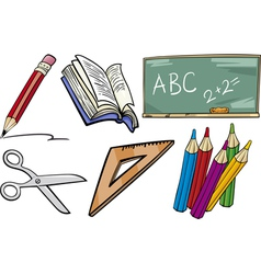 School objects cartoon set vector