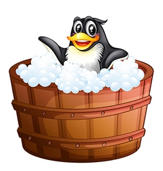 A penguin at the bathtub vector
