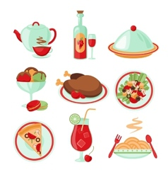 Restaurant food icons vector