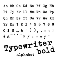 Typewriter bold alphabet vector