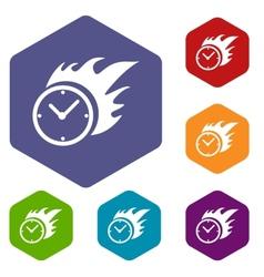 Hot clock rhombus icons vector