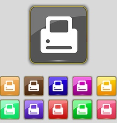 Printing icon sign set with eleven colored buttons vector
