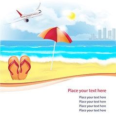 Summer beach with slippers and umbrella vector