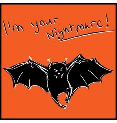 Funny bat with text halloween card vector
