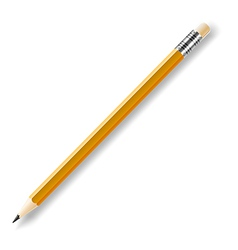 Lead pencil with yellow eraser isolated on white vector