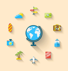 Flat set icons of globe and journey vacation vector