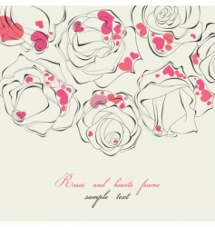 Roses and hearts frame vector