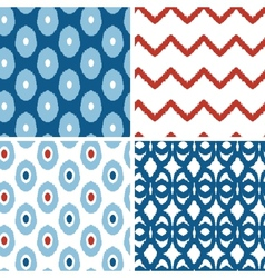 Set of blue and red ikat geometric seamless vector