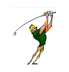 Close-up of man holding golf stick vector