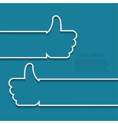 Modern white thumb up icon vector