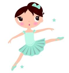 Cute cyan ballerina girl isolated on white vector