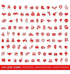 Set love red icons vector