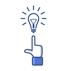 Concept idea forefinger pointing at light bulb vector