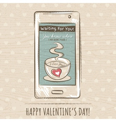Valentine card with smartphone vector