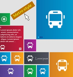Bus icon sign metro style buttons modern interface vector