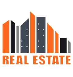 Real estate symbol with many skyscraper vector