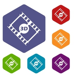 3d film rhombus icons vector