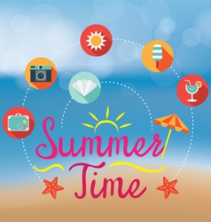 Summer flat icons and heading on blur background vector