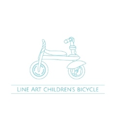 Line art childrens bicycle one vector
