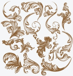 Vintage floral decorative leaves vector