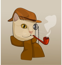 Cat with eyeglass brown hat pipe and scarf cart vector